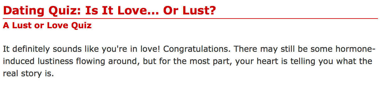 Am i in love or lust quiz
